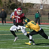Fitchburg High School football played Tantasqua Regional High School on Saturday, Nov. 16, 2019. FHS's #1 Montgomery Graham tries to avoid a tackle by TRHS's #9 Chandler Horne. SENTINEL & ENTERPRISE/JOHN LOVE