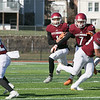 Fitchburg High School football played Tantasqua Regional High School on Saturday, Nov. 16, 2019. FHS's #7 Anthony Oquendo leads the way for his teammate #1 Montgomery Graham. SENTINEL & ENTERPRISE/JOHN LOVE