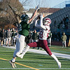 Central Mass. Division 5 championship was held at Foley Stadium, Worcester between (1) Oakmont Regional High School vs. (3) Northbridge High School on Saturday, Nov. 16, 2019. ORHS's #2 Colton Bosselait tried to block this throw to NHS's #28 Brennan Mahoney. Mahoney ended up catching it for a touchdown. SENTINEL & ENTERPRISE/JOHN LOVE