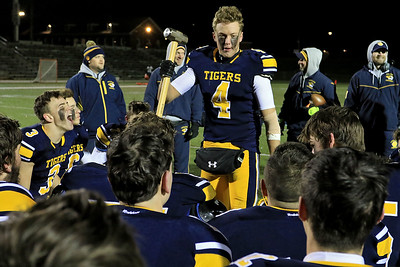 Littleton High School's Austin Lynn addresses the team after their win against Blackstone-Millville during the Central Mass. Division 6 championship at Doyle Field in Leominster Saturday, November 10, 2018. SENTINEL & ENTERPRISE/JOHN LOVE
