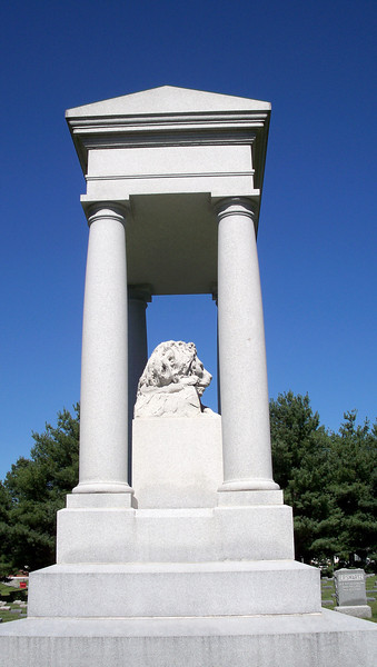 A side view of the lion statue to commemorate the veterans of the Civil War at the Confederate Cememtery north of Higginsville, Missouri at the Confederate Memorial State Historic Site.  Only veterans, and their families, who lived at the Confederate Home there could be buried in this cememtery.