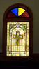 The stained glass window in the front of the 106-year-old restored chapel next to the historic Confederate Cemetery in the Confederate Memorial State Historic Site park north of Higginsville, Missouri.  Sept. 9, 2008