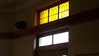 One of the decorative windows from inside the women's waiting room at the KATY Depot (M K & T railroad) in Sedalia, MO.