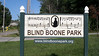 Warrensburg, Missouri Blind Boone Park entrance off W. Pine St.  This park, in honor of the blind pianist John Boone is designed for handicap as well as others.  A suspended rope is used as a guide with audio boxes to hear park history and about Blind Boone.  Even the drinking fountain takes care of service dogs as well as other pets.  3.2 acres.  Aug., 2008
