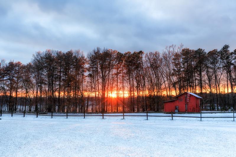 Winter Barn Sunset