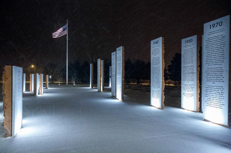 Veterans Memorial at Night