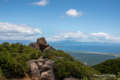 The lookout at the top of Mount Tauhara,  a dormant volcano on the outskirts of Taupo. There are 360 views of the local agricultural land, Taupo township  itself and this one that catches a bit of the lake as well as the volcanoes in the Central Pateau (if you zoom in)