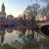 Sun setting in Central Park - Bow Bridge and Upper West Side