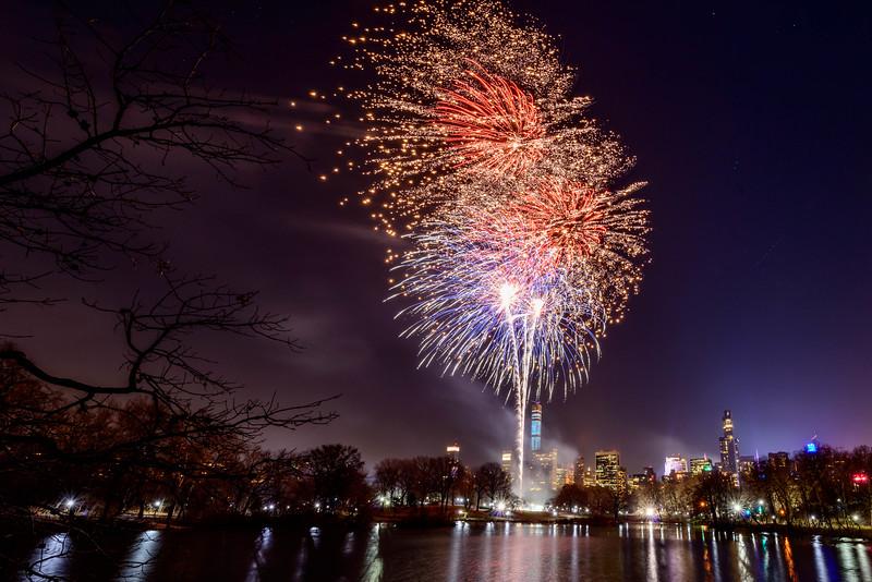 New Year's celebration fireworks. Central Park
