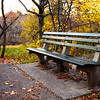 Bench at entrance of the Ramble. Central Park