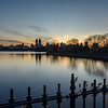 Eastern view of Central Park Reservoire at sunset