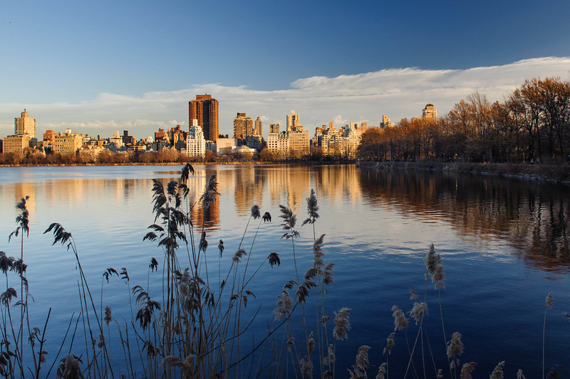 View of the Manhattan East Side from the Jacqueline Onassis Reservoire. Central Park