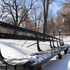 Bench along Naturalist's Walk covered with snow. Central Park, New York
