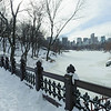 Bank Rock Bridge and the Lake with snow. Central Park, New York