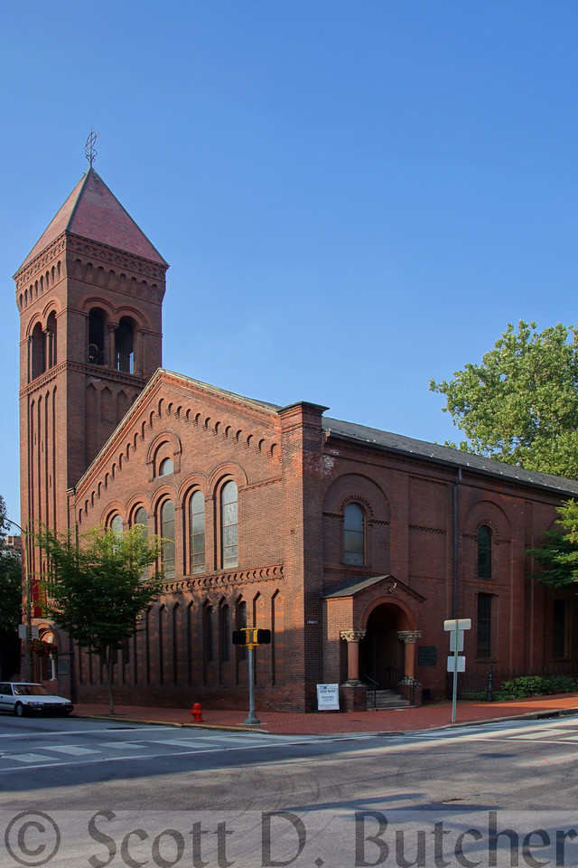 St. James Episcopal Church in Lancaster, PA was built in 1820 and expanded 1880, giving the building its Romanesque Revival style.  Photo by Scott D. Butcher.