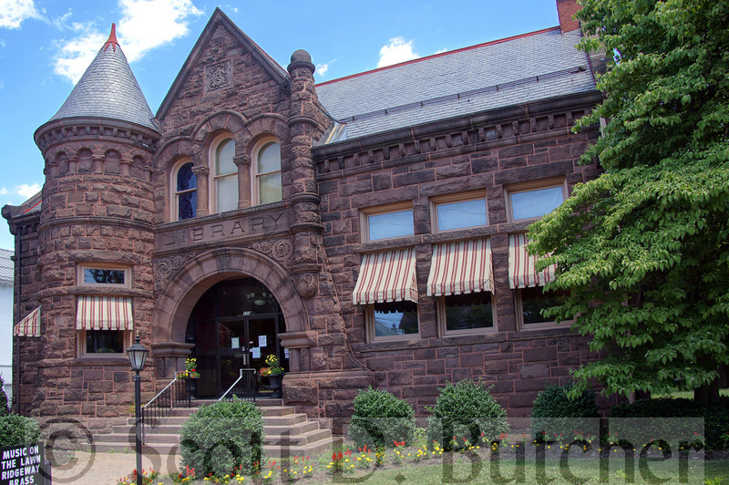 The Amelia S. Given Library in Mount Holly Springs, Cumberland County, PA, is an example of Richardson Romanesque architecture with heavy rough-cut brownstone. Photo by Scott D. Butcher.