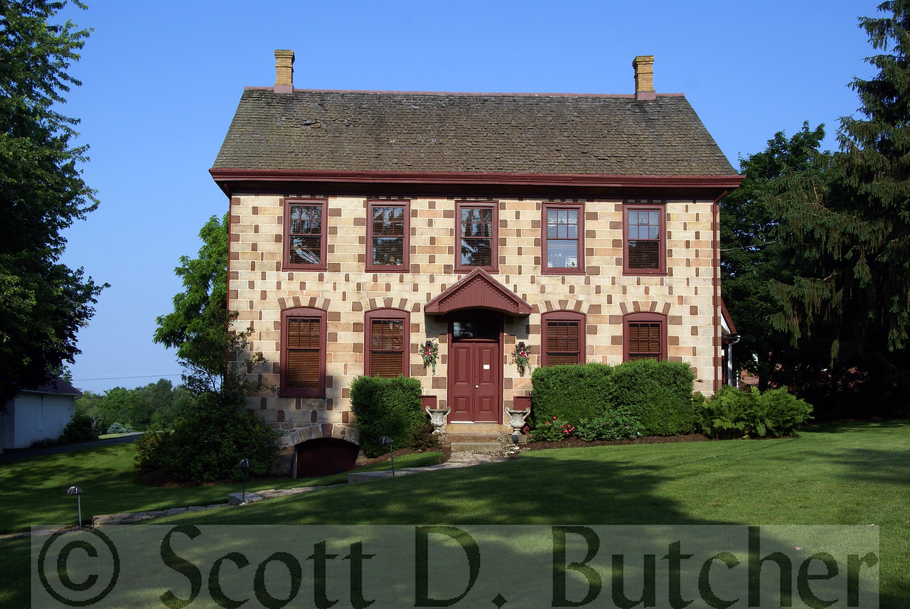 Unique Georgian Style Checkerboard House, north of Lititz, PA.  Photo by Scott D. Butcher.