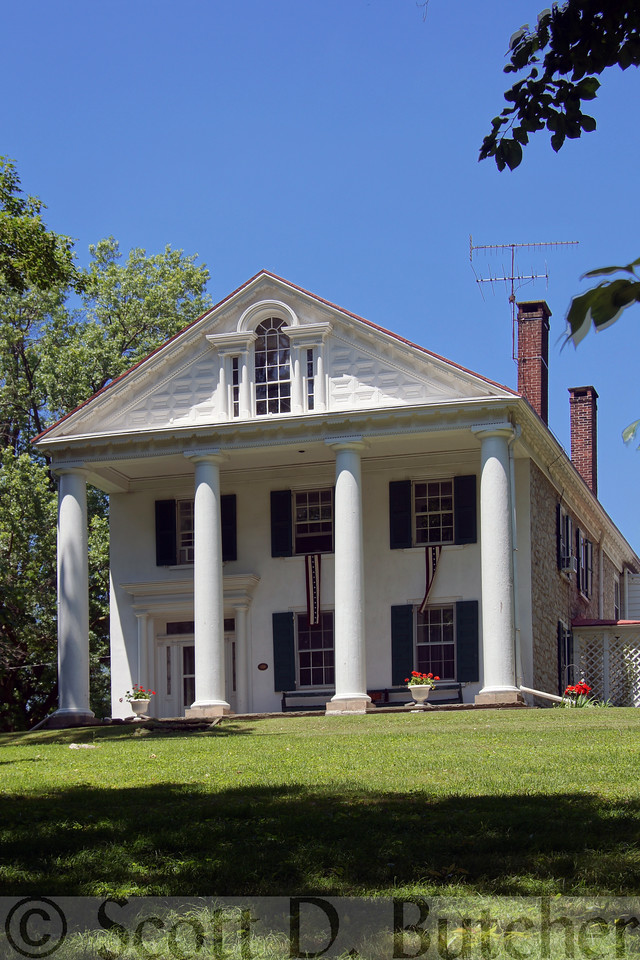The Leaman Mansion, located along the Lincoln Highway in eastern Lancaster County, Pennsylvania, is a rare example of Classical or Jefferson Revival.  Photo by Scott D. Butcher.