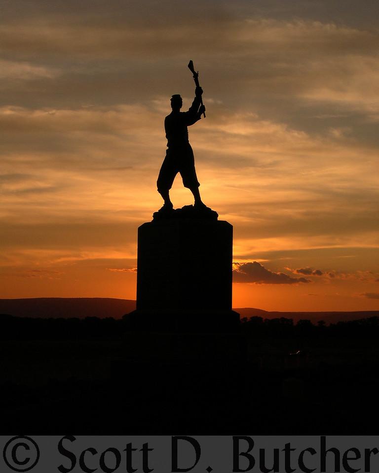 Dusk at Gettysburg Battlefield.