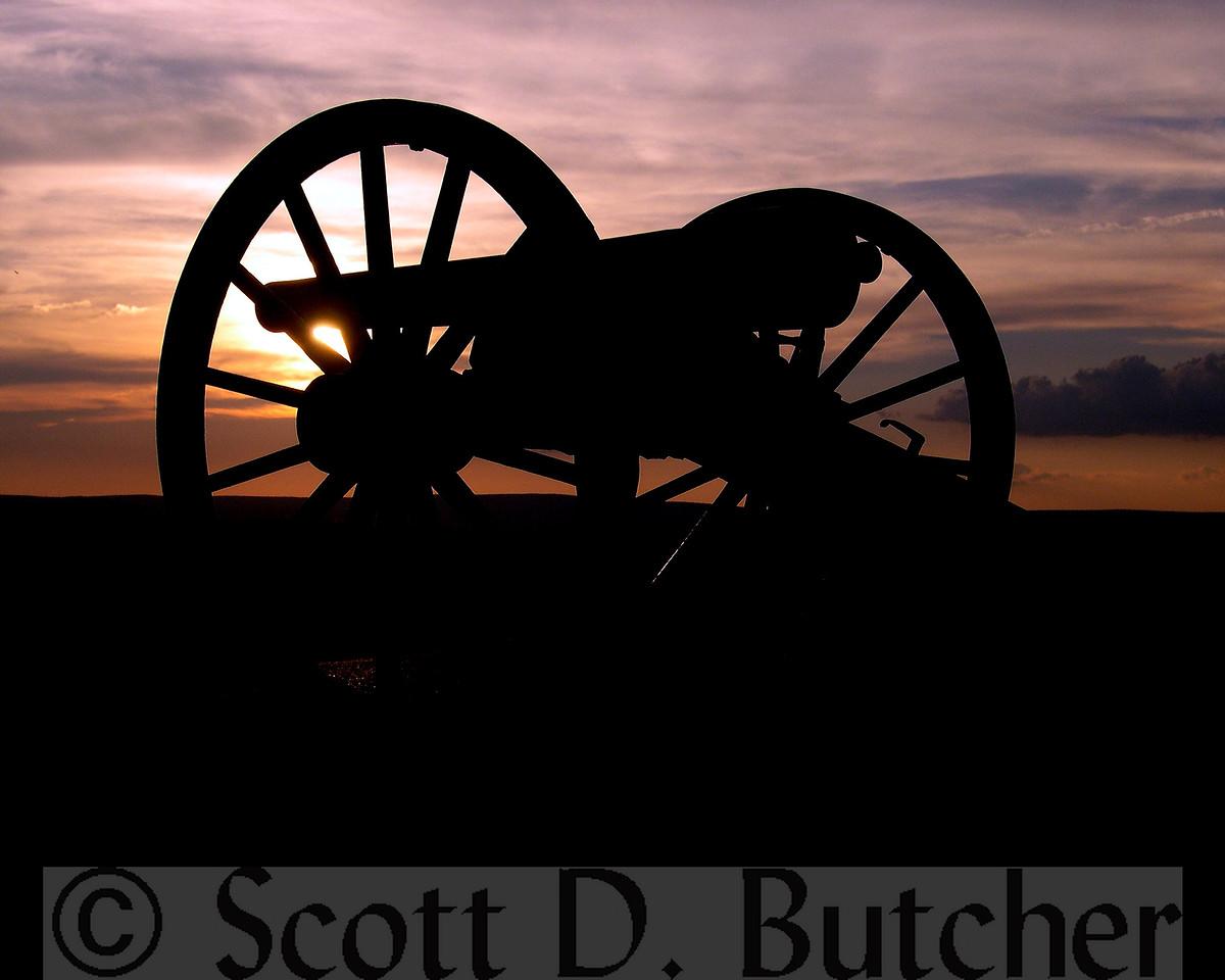 Sunset from Little Round Top, Gettysburg Battlefield.