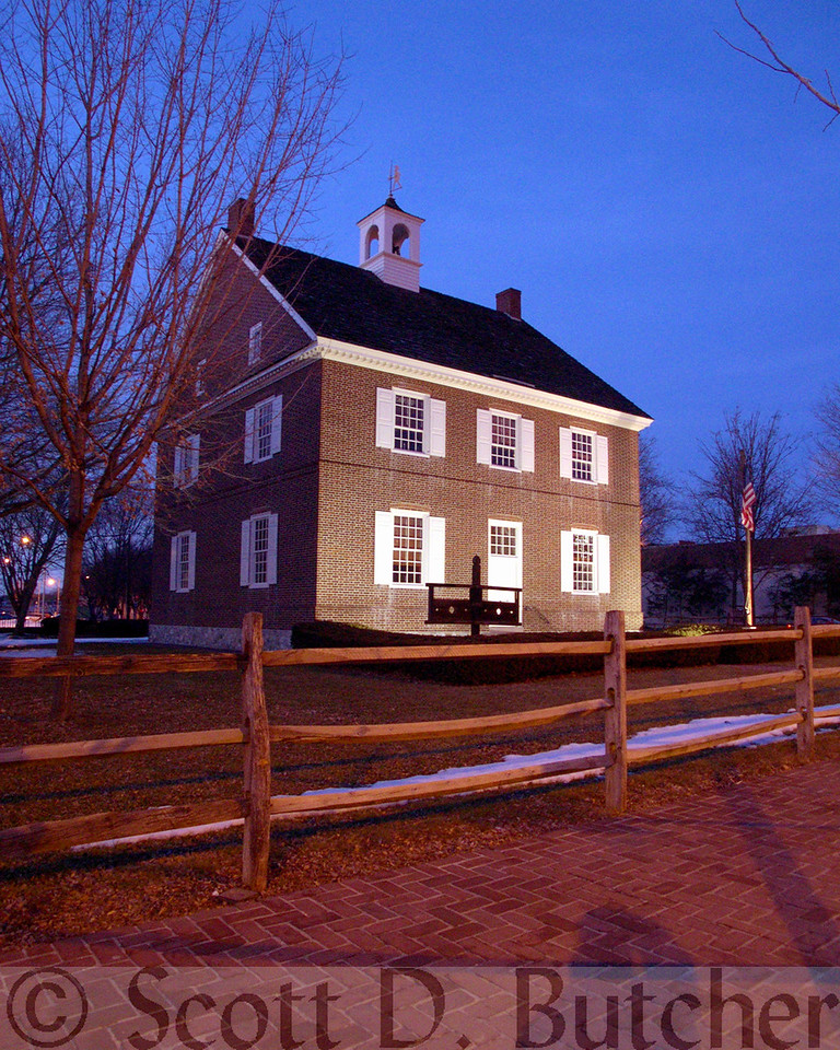 Colonial Court House at Night.