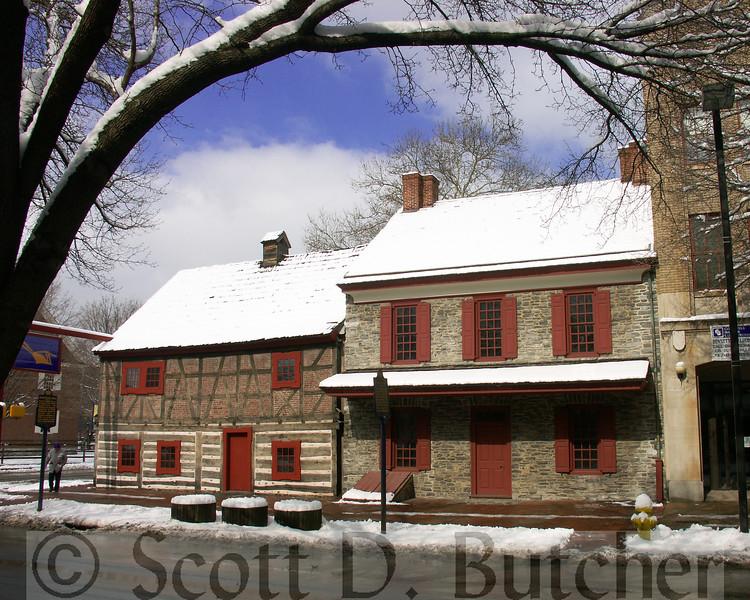 Plough Tavern & Gates House in Winter.
