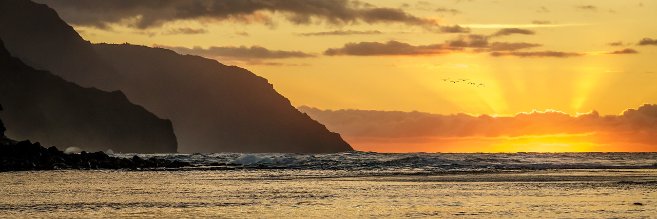 Na Pali Coast Sunset Pano - Kauai