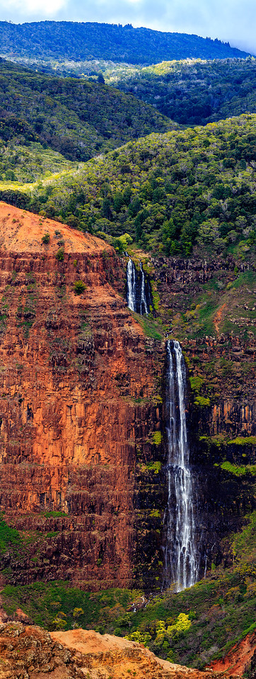 Waipo'o Falls at Waimea Canyon Vertical Pano - Kauai