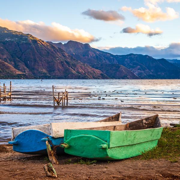 Colored Boats (Square) - San Pedro La Laguna, Guatemala
