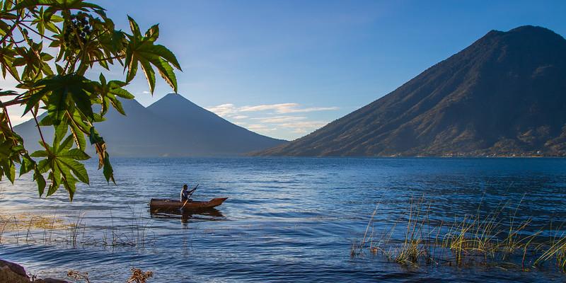 Lake Atitlan Fisherman #1 (Pano) - San Marcos La Laguna, Guatemala