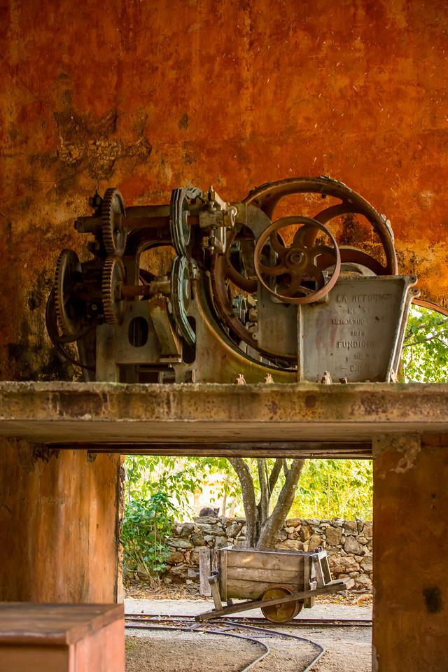 Machine for Extracting Fiber (Henequen) From Agave Plant at Hacienda Ochil - Merida, Mexico