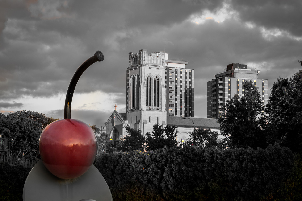 Spoonbridge & Cherry (Selective Color) - Minneapolis Sculpture Gardern
