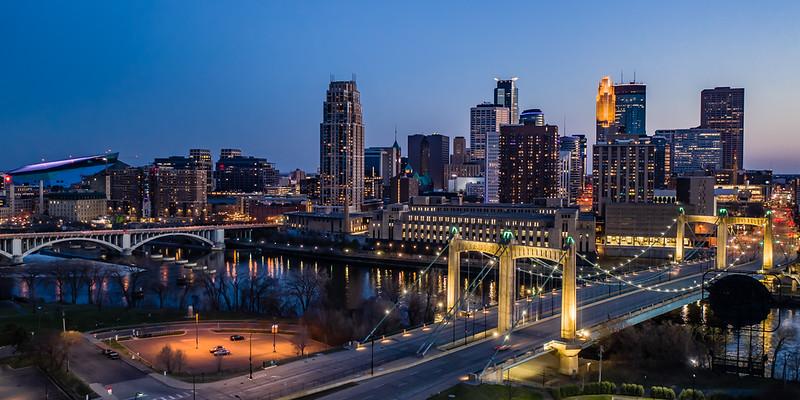 Minneapolis Skyline with Hennepin Ave. Bridge ( Pano)