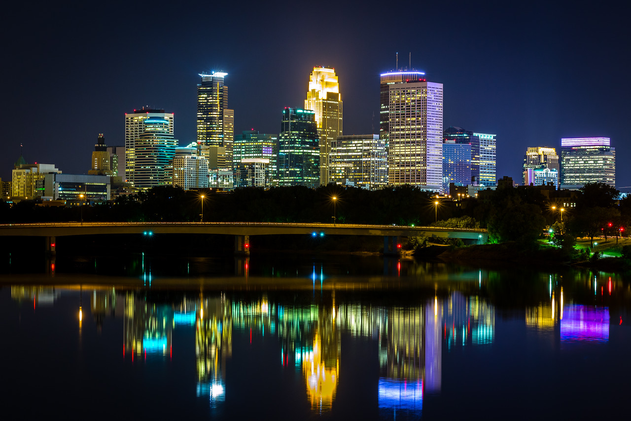 Minneapolis Skyline from Broadway Ave. Bridge