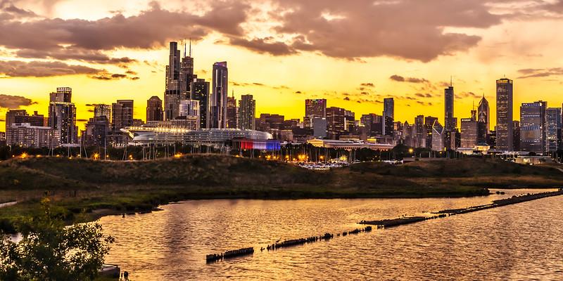 Chicago Skyline Night (Pano) – Chicago, IL.
