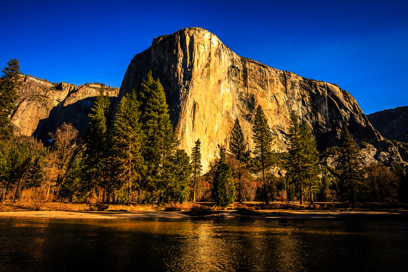El Capitan with Merced River in Foreground - Yosemite National Park, CA