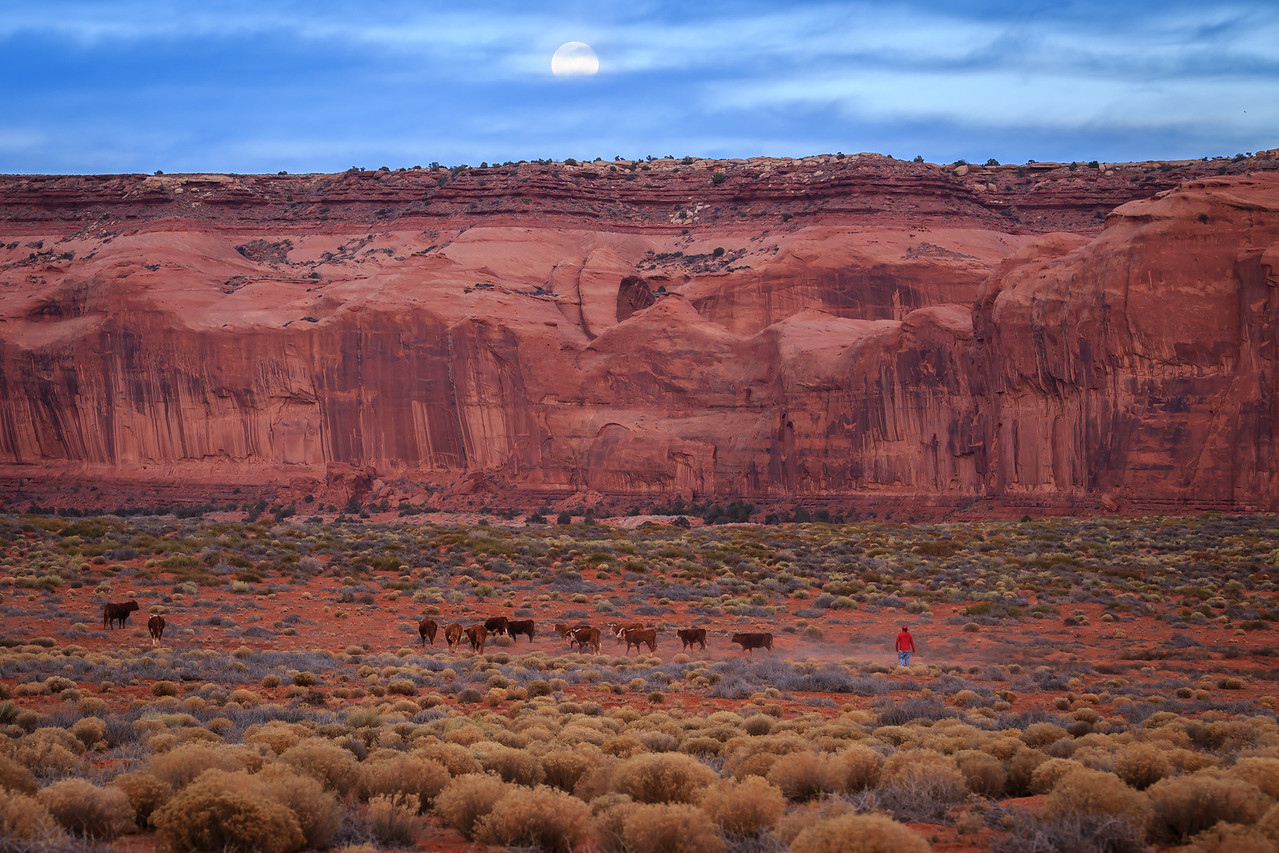 Monument Valley Moonrise - Navajo Tribal Park, Border Arizona-Utah