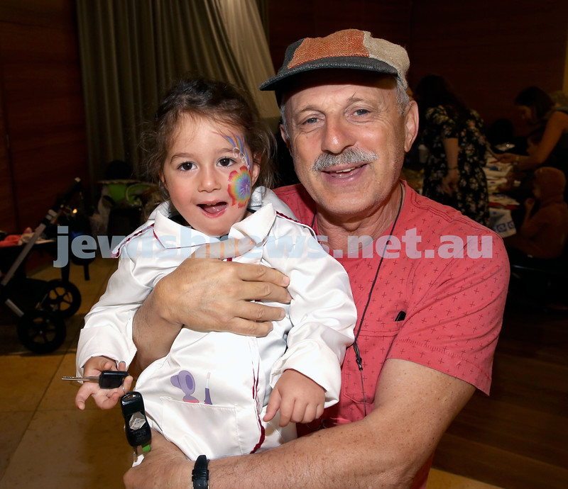 Central Synagogue's Disney themed Purim Party. Liat Archie (left) & Sam Podjarski. Pic Noel Kessel.