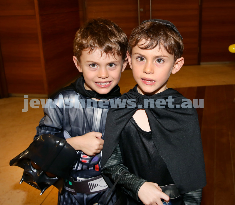 Central Synagogue's Disney themed Purim Party. Toby (left) & Josh Vogel. Pic Noel Kessel.