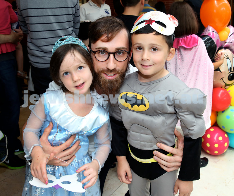 Central Synagogue's Disney themed Purim Party. (from left) Aliya, Yosef, Mem Eichenblatt. Pic Noel Kessel.