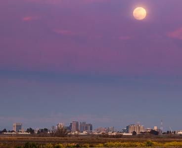Moon rising behind Sacramento