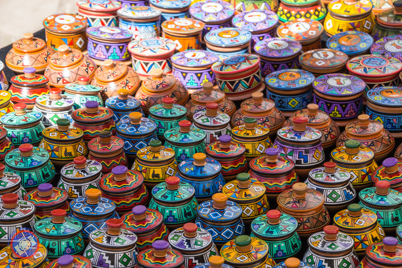 Colorful Decorated Clay Pots on Display in the Pisac Sunday Market