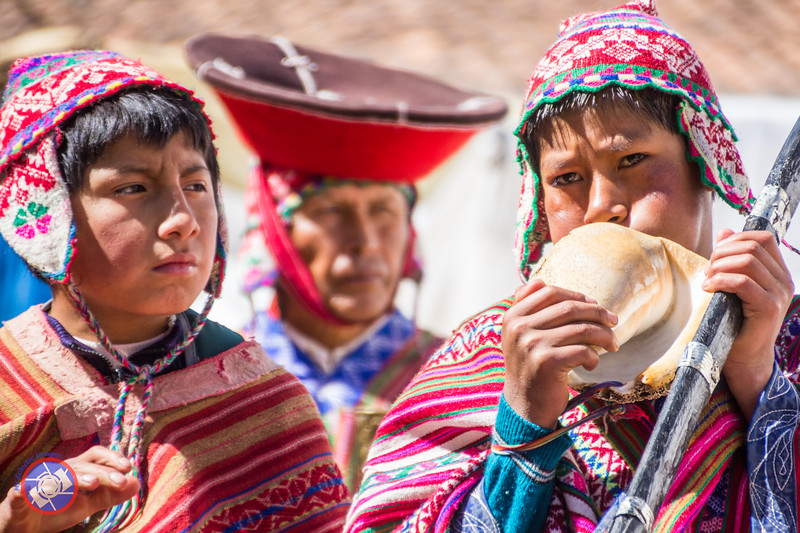Pisac Youth Blowing a Conch Shell Horn