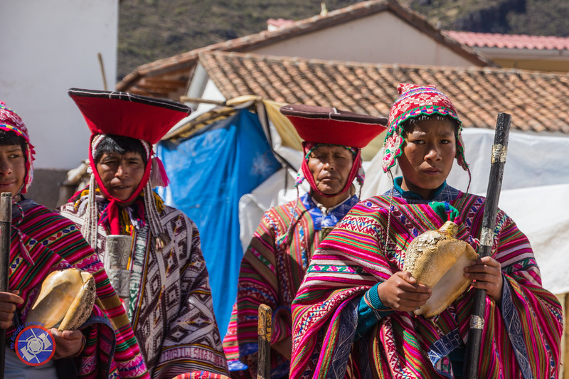 Pisac Youth in Traditional Clothing with a Conch Shell Horn
