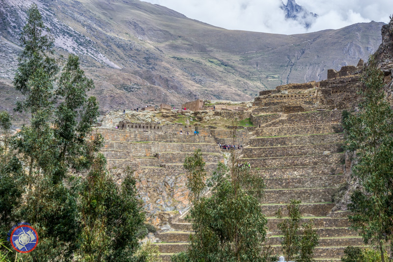 View of the Inca Terraces from the Market Square in Ollantaytambo