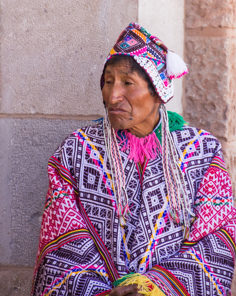 Pisac Village Elder Waiting Outside the Church