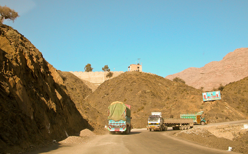 Chugging along behind the trucks in the Khyber Pass. Pakistan