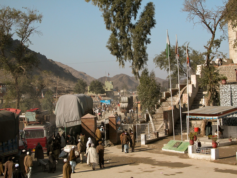 """Border of Pakistan. The actual crossing is way into the background. As I found out after leaving Pakistani territory, at that time there was no actual entry checkpoint into Afghanistan. You left Pakistan and were in """"No Man's Land"""" for a bit, until you started seeing signs of civilization again as you headed West toward Kabul."""