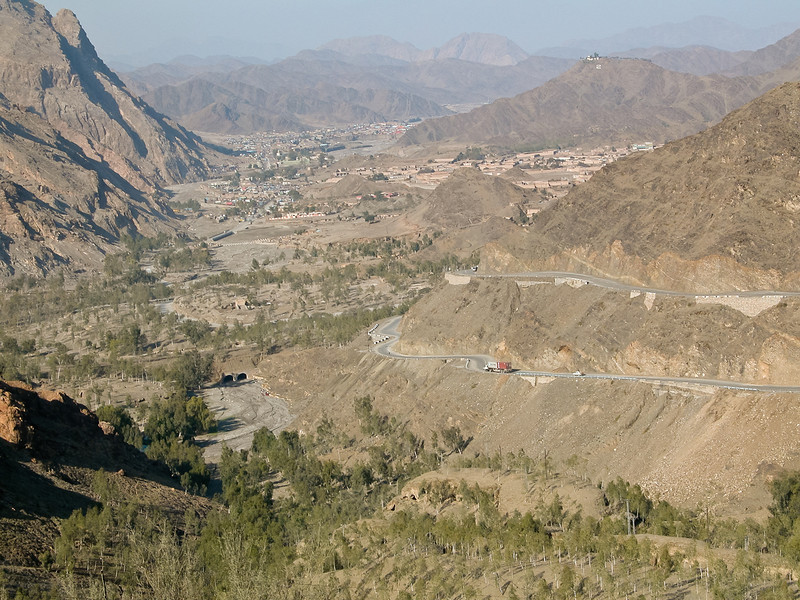 Some good views while passing through the Khyber Pass region. This view is looking back upon going uphill near the beginning of the Khyber Pass.