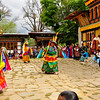 Domkhar Tsechu Festival. The first costumed dance. People believe that watching the dances helps to cleanse them of sin and aid their quest for enlightenment. Domkhar, Bhutan